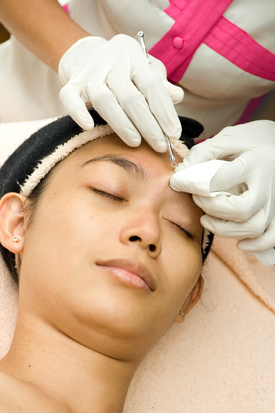 woman face in facial treatment